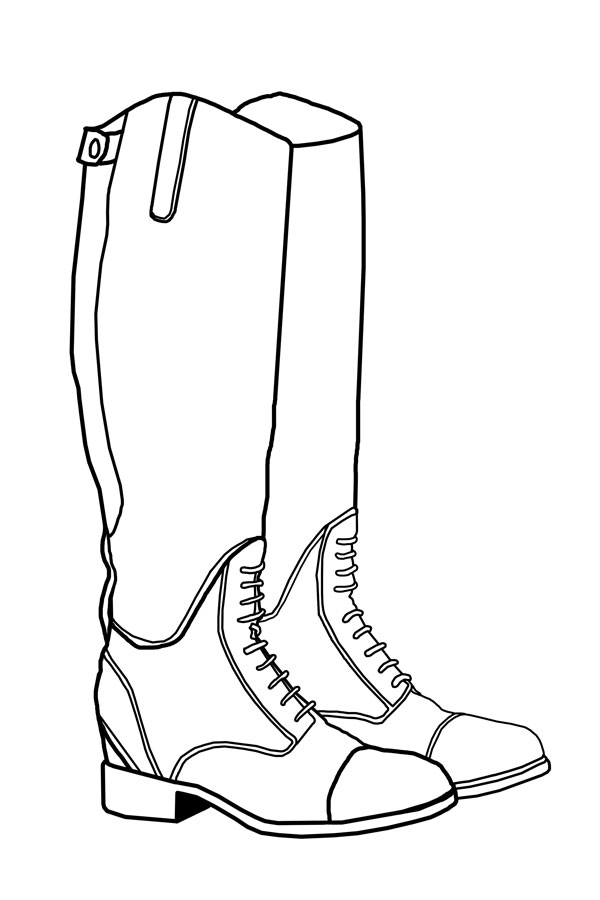 boot line drawing sketch coloring page
